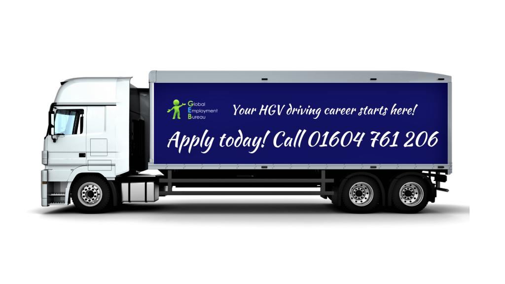HGV truck with Global Employment Bureau HGV driving jobs ad