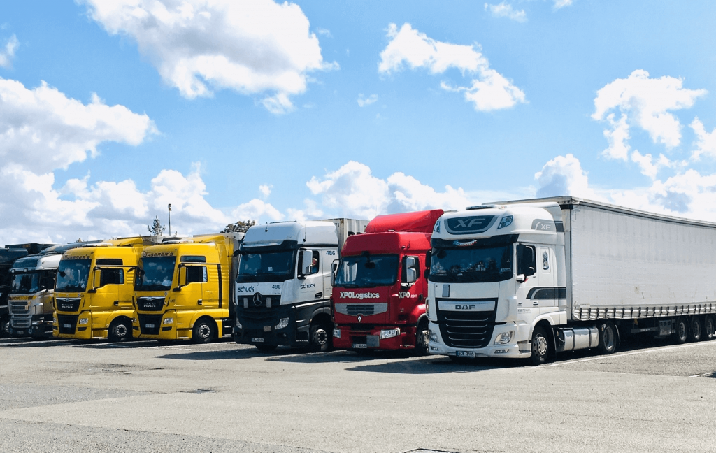 HGV trucks parked in service station-small size