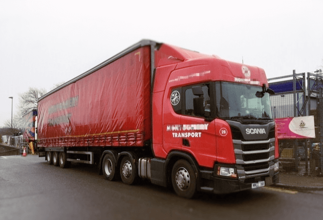 Red HGV truck