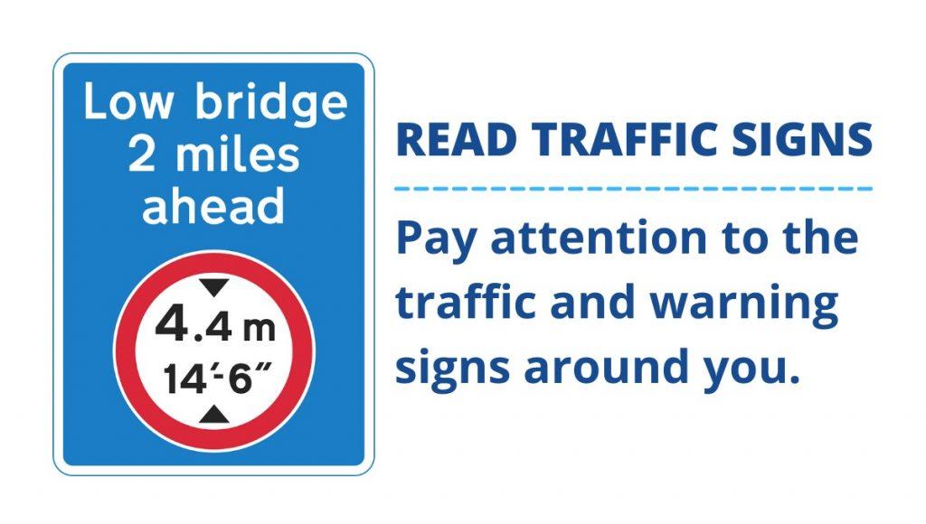 Low bridge traffic sign