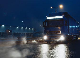 HGV truck driving at night